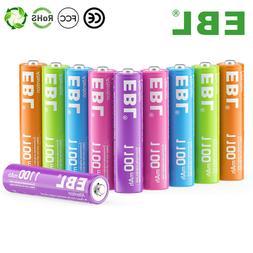 EBL 10Pcs AAA Rechargeable Batteries 1.2V 1100mAh Ni-Mh Colo