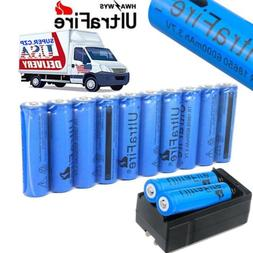 10X 18650 Battery 6000mAh 3.7V Li-lon Rechargeable Charger F