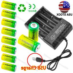 10x Rechargeable Batteries 3.7V 1800mAh CR123A for Netgear A
