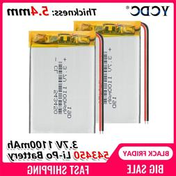 1100 mAh 543450 3.7V Polymer Lithium <font><b>Rechargeable</