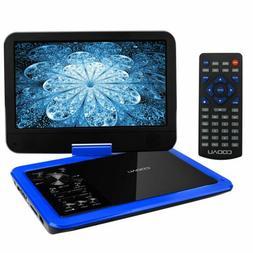 "COOAU 12.5"" Portable DVD Player 10.5"" Swivel Screen  5H Rech"
