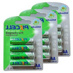 12 AA Rechargeable Batteries NiMH 600mAh 1.2v Garden Solar N