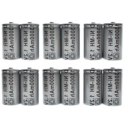 12 pcs D size D-type 13000mAh 1.2V Volt Ni-MH Rechargeable B