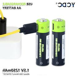1250mAh Rechargeable AA Battery With Micro USB Plug Cable Ch