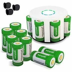 12Pcs Camcorder RCR123A Rechargeable Batteries And 8-Ports C