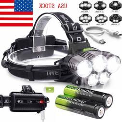 160000LM 5X T6 LED Headlamp Rechargeable Headlight 18650 Fla