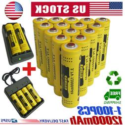 18650 Battery 12000mAh GTL Fire Li-ion 3.7V Rechargeable For
