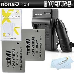 2 Pack Battery And Charger Kit For Canon PowerShot SX40 HS,