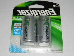 2 new Energizer NiMH Rechargeable Size C Batteries Recharge