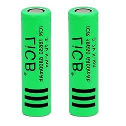 2 Pack 18650 3.7 Volt Li-ion Rechargeable Battery 6800mAh