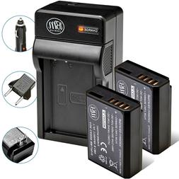 2 Pack LP-E10 Battery + Charger for Canon Rebel T3, T5, T6,
