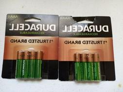 2 PACKS - DURACELL RECHARGEABLE AAA BATTERIES 4 COUNT KW 122