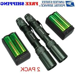2 Set Cree Led Flashlight Rechargeable Zoom Tactical Torch B
