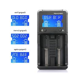 2-slot Battery Charger, DBPOWER LCD Display Speedy Battery C