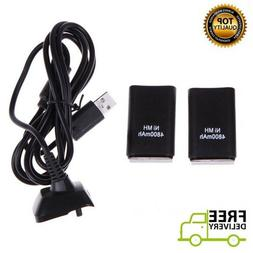2 x 4800 mAh Rechargeable Battery Pack USB Charger XBOX 360