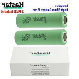 2 X Kastar Samsung 25R 20A 3.7V 2500mAh Rechargeable Flat To