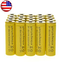 20 AA Rechargeable Yellow Battery NiMH 3000mAh 1.2v Garden S
