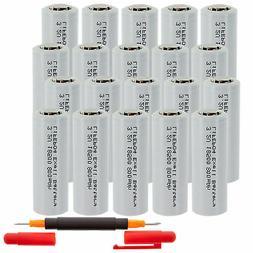 20-PACK Exell Battery 3.2V 800mAh Li-FePO4 Size 18500  Recha