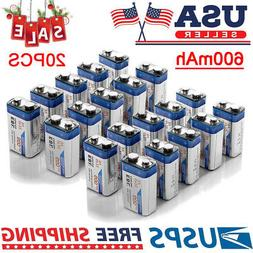 EBL 20 Pack 600mAh 9V 6F22 Lithium-ion Rechargeable Batterie