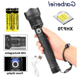 200000 Lumens Zoomable XHP70 LED USB Rechargeable Flashlight