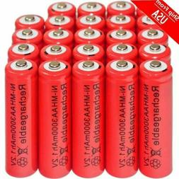 24pcs AA 3000mAh Ni-Mh 1.2V rechargeable Red battery Cell fo