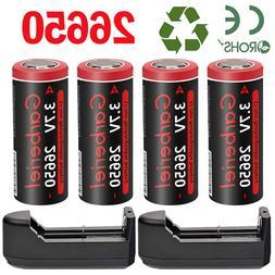 26650 Battery 9900mAh Li-ion 3.7V Rechargeable for Flashligh