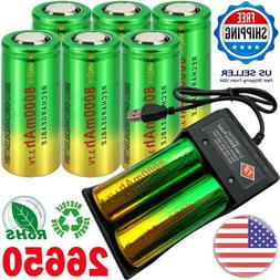 26650 Battery Rechargeable 3.7V Li-ion with 2 slot USB Charg