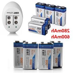 EBL 280/600mAh Ni-Mh/Li-ion 9V 6F22 Rechargeable Batteries +