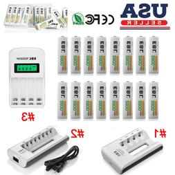 EBL 2800mAh AA Rechargeable Batteries Pack + Charger For AA