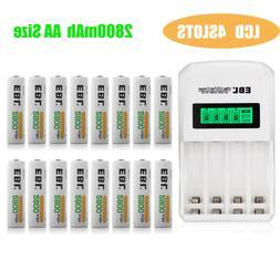 2800mAh AA Rechargeable Batteries + Recharge NiMh AA AAA Bat