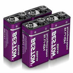 2pcs EBL 600mAh 9V 6F22 Li-Ion Rechargeable Batteries 9-Volt
