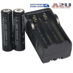2PCS High Power 3.7V Rechargeable Li-ion   Battery+1pc 2 Sor