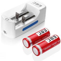 2x 1600mAh 18500 Li-ion Rechargeable Battery Flat top + Li-i