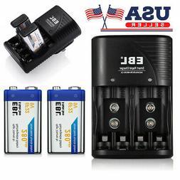 2x EBL 280mAh 9-Volt NiMH Rechargeable Battery + Dual Slots