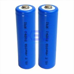 2X AA Rechargeable Lithium Battery 600mAh 3.2V 14500 LiFePO4