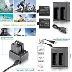 VVHOOY 2X900mah Rechargeable Action Camera Battery & Charger