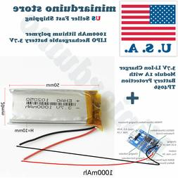 3.7V 1000mAh 102050 lithium polymer lipo Rechargeable batter