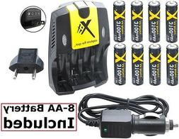 Ultra Hi 8-AA Battery With AC-DC Dual Turbo Charger For Niko