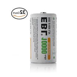 EBL 32 Packs Ni-MH 10000mAh D Rechargeable Batteries
