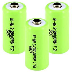 3x Exell 2/3AA NiMH 700mAh 1.2V Button top Rechargeable Batt