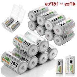 EBL 4-16pcs C/D Size C D Cell NI-MH Rechargeable Batteries P