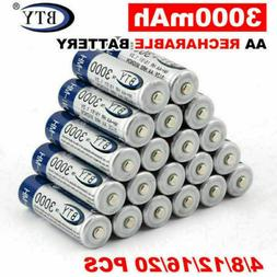 4-20pcs BTY 1.2V 3000mAh AA Rechargeable Battery Ni-MH Recha