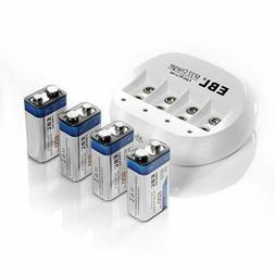 EBL 4 Bay 9V Lithium ion Battery Charger with 4 Packs 600mAh