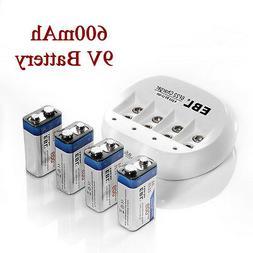 EBL 4 Pack 600mAh 9V 6F22 Li-ion Rechargeable Batteries + 9