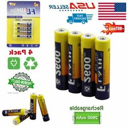 4 Pcs Premium AAA 2600mAh Batteries 1.2 Volt High-Capacity R