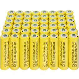 48 pcs Rechargeable NiMH AA 3000 mAh Batteries for Solar-Pow
