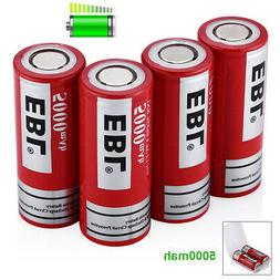 4Packs EBL 5000mAh 3.7Volt 26650 Battery Rechargeable Li-ion