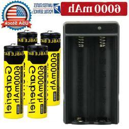 4PC 18650 6000mAh Battery 3.7v Li-ion Rechargeable Batteries
