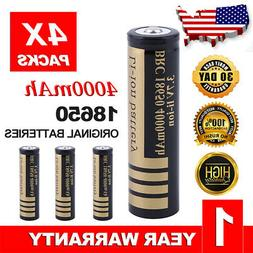 4pcs 18650 Battery 3.7V Li-ion Rechargeable Battery For Torc