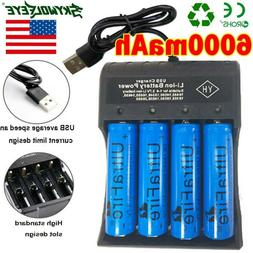 4PCS Battery 3.7V Li-ion Rechargeable Batteries For LED Torc